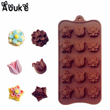 Tulips Flower 15 Lattices Chocolate Mold Ice Cube Silicone Mould DIY Biscuits Candy Molds Kitchen Baking DIY Cake Decoratin Tool(China)