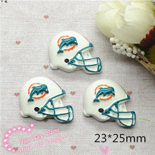 Wholesale 50pcs America miami dolphin football helment Resin Cabochon Flat Back Scrapbooking crafts(China)