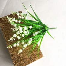 Artificial Plastic Lily Of the Valley Flowers Home Table Office Wedding Flower Party Decoration(China)