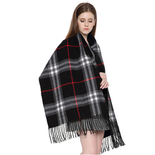 Women's  British Style Big Grid Lattice Pocket Blanket Shawl Imitation of Cashmere  Warm Soft Chunky Scarfs