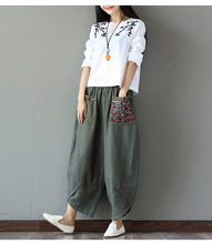 Woman Trousers Loose Trousers big Size Wide Leg Pants Elastic Waist Vintage Cotton Linen Womens Casual Harem Pants(China)