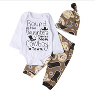 Buy Long Sleeve Cotton Newborn Baby Boy Girl Cowboy Letter Print Romper Pants Leggings Hat 3pcs Outfits Clothes Set Costume Clothing for $5.84 in AliExpress store