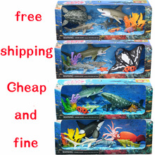 Marine animal toy model of movable joints good quality big killer whale shark octopus dolphins squid coral animals
