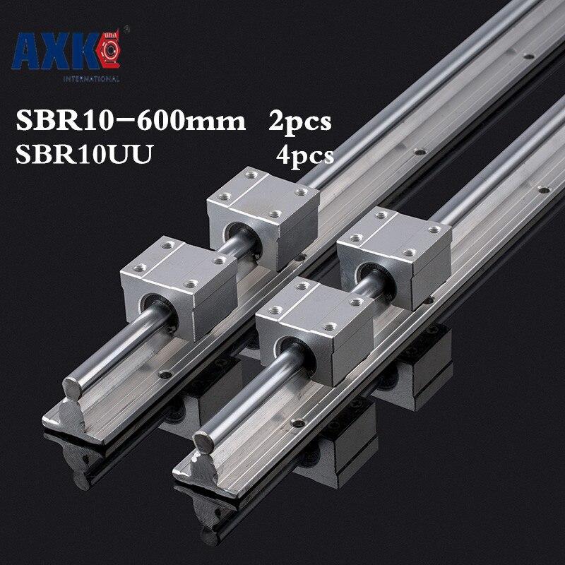 2pcs Sbr10 L 600mm Linear Rail Support With 4pcs Sbr10uu Linear Guide Auminum Bearing Sliding Block Cnc Parts<br>