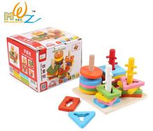 Free shipping Four column, ring shape, shape of building blocks, intelligence, educational toys, wooden toy, four sefs of column(China)