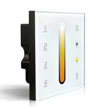 DX6 4 Zones Control Touch Panel Wall Mount LED Color Temperature Adjustable CT dual color Controller 2.4G Wireless DMX512