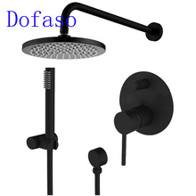 Dofaso Brass Black Shower Set bath spout Faucet Ceiling Wall Arm Diverter Mixer Solid Brass Overhead Handheld Shower Head 8 Inch(China)
