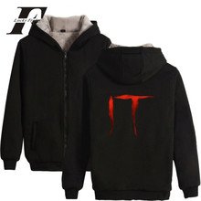 LUCKYFRIDAYF Stephen King's It Horror Movie Winter Coat Men Hoodies Cotton Zipper Cap Hoodies Men/Women Thick Warm Sweatshirts(China)