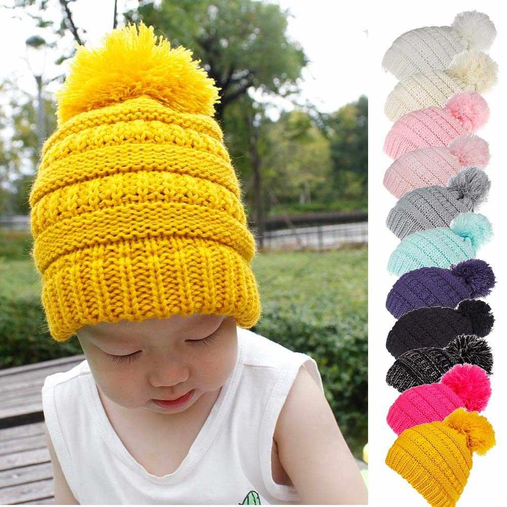 1c6b1c366de Winter Beanie Hat for Baby Boys Girls Knitted Pom Pom Hat Children Beanies  Kids Winter Cap