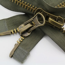1piece 8# zipper for sewing double sliders two heads for wind coat down jacket clothing zipper repair 70 80 90 100cm green/black(China)