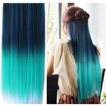 Ombre Hair Extension Fashion Dark Blue To Light Green Long Straight Synthetic Clip In Hair Extensions Heat Resistant Hairpiece