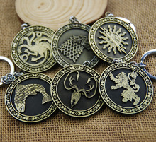 ZIDOM Game of thrones Keychain Key Chain Song Of Ice And Fire Key Rings Holder Souvenir For Gift Chaveiro Men Jewelry 6 styles