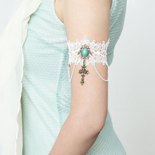 New Armlet Bracelets for Women Handmade Flower White Lace Stone Cross Drop Arm  Band Armband Wedding 5a901c7a5837