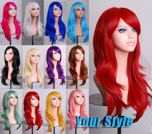 70cm/28  Long Wavy  Cheap Cosplay Wigs Good Syntetic Naruto Party Costume Cosplay Wigs Black /White/Red/Pink<br><br>Aliexpress