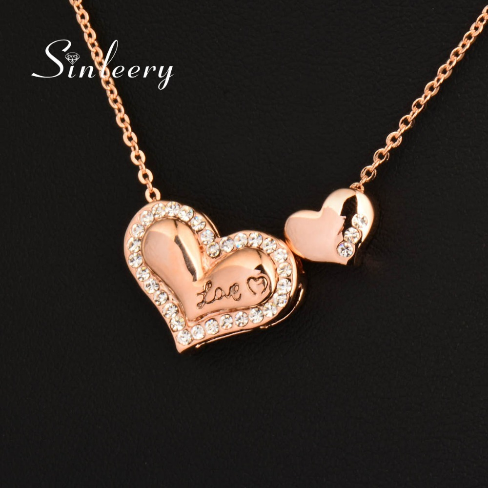SINLEERY Romantic Solid Double Heart Choker Necklace Chain Rose Gold Color Lover's Jewelry For Women Wedding Xl335 SSJ(China (Mainland))