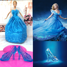 NK Imitation Fairy Tale Princess Cinderella Wedding Dress+Crystal Shoes For Barbie Doll Best Girls Gift Baby Toys(China)