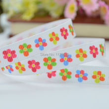 "DUWES 3/8"" 9mm Colorfull Bright Flowers Printed grosgrain ribbon,hairbow DIY handmade clothing 50yards wholesale OEM(China)"