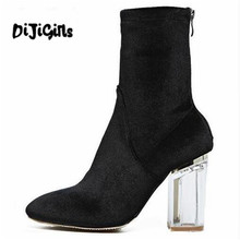 DiJi Girls New Fashion Women's Ankle Boots High Heels Women Autumn Boots Ladies Shoes Black Velvet Boots Zipper Clear Heels(China)