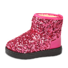 Kids Boots Snow Boots Girls Children Winter Warm Shoes Fashion Sequins Medium-sized Child Boot Cotton Girl Australia boot(China)