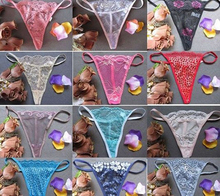 Elasticity Mini Briefs Lot Bulk T-back G-string Women seductive Sexy Thong small triangle panties multi color Wholsale 12 pcs(China)