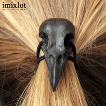 Imixlot 5 Color Retro Punk Gothic Metal Raven Skull Hair Tie Fashion Birds Crow Skull Elastic Hair Bands Accessories(China)