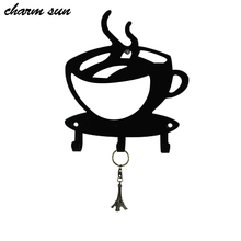 European Coffee cup-style Key Hanging Home Decoration Hanger Retro Coffee Bar Bar Shop Coat Hook Home Wall Decoration