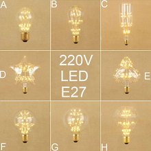 Vintage E27 LED Edison bulb Retro home decor led screw bulbs A19 ST64 G80 G95 Antique LED art Starry warm white bulbs(China)