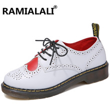 Ramialali Woman Fashion Genuine Leather Ankle Boots Women Martin Boots Female Lace Up Low Heels Platform Women Shoes