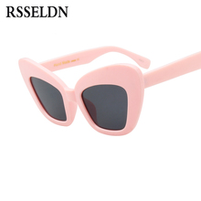 RSSELDN 2018 Summer Styles Cat Eye Sunglasses Women Vintage Pink Black White Big Cat Eye Sun glasses for Women Sexy Eyewear(China)