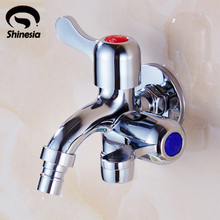 Two Function Dual Spout Washing Machine Laundry Faucet Water Tap Chrome Finish(China)