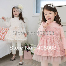 2013 Korean children's clothing wholesale children rose princess girls dress child tulle dress  cake long-sleeve dress
