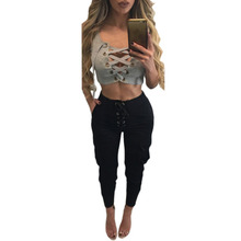 Women Cotton Solid Front Cross Lace Up Deep V Hollow Out Sexy Skinny T-shirt Tank Sleevess Clubwear Tops Tees Casual Short Shirt