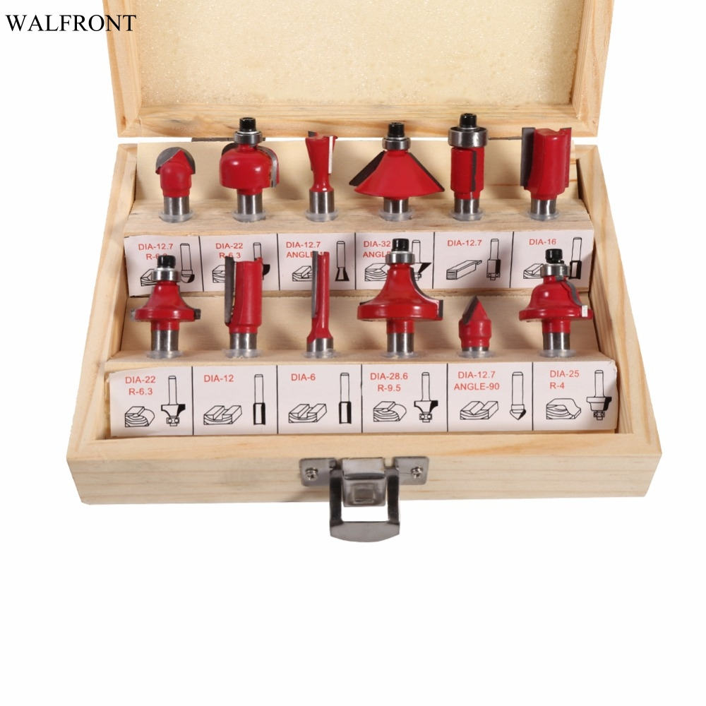 12 Pcs/case Milling Cutter 8mm Shank Cemented Carbide Router Bit Woodworking Cutter Bit Set with Wood Case Box(China)