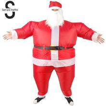Senza Fretta Christmas Inflatable Santa Claus Costume Jumpsuit Air Fan Operated Blow Up Party Funny Inflatable Outfit XSY0221(China)