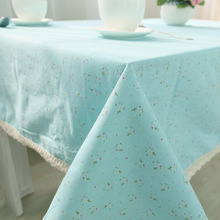Korean Style Blue Orange Linen Table Cloth Country Floral Printed Coffee Tablecloth Lace Edge Table Cover For Home Party Decor(China)