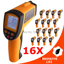 16 x pieces Infrared IR Laser Thermometer 12:1 Pyrometer -50~700 Celsius/Fahrenheit Temperature Tester 0.10~0.99 EM(China)