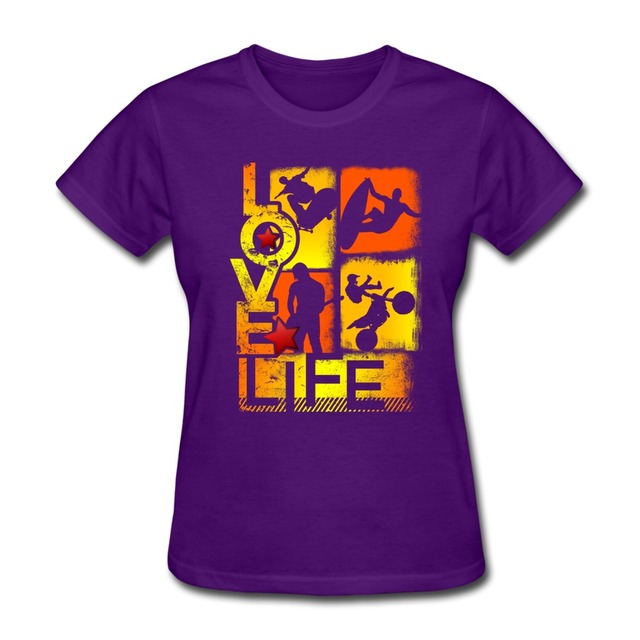 cheap o-neck womans t shirt love life extreme sports design
