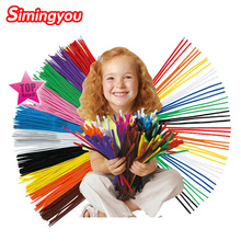 Simingyou 100pcs Montessori Materials Chenille Children Educational Toy Crafts For Kids Colorful Pipe Cleaner Toys Craft(China)