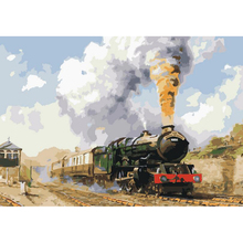 Handwork gift Train departure picture on canvas DIY acrylic paints painting by numbers vintage home decor wall art pictures r343(China)