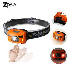 ZPAA Head Torchlight Sensor LED Headlamp With Red Light USB Rechargeable outdoor Head Lamp Flashlight Waterproof for Running(China)