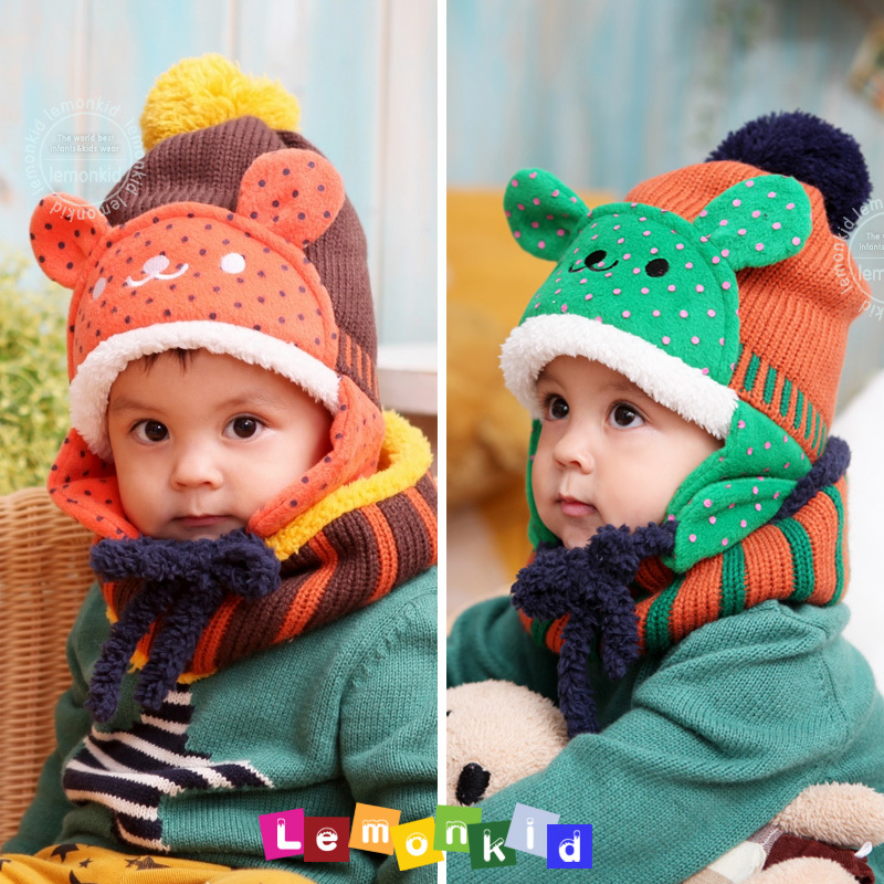 Hot Korea Kids boy and girl winter Hat cap little Bear Scarf For ChildrenОдежда и ак�е��уары<br><br><br>Aliexpress