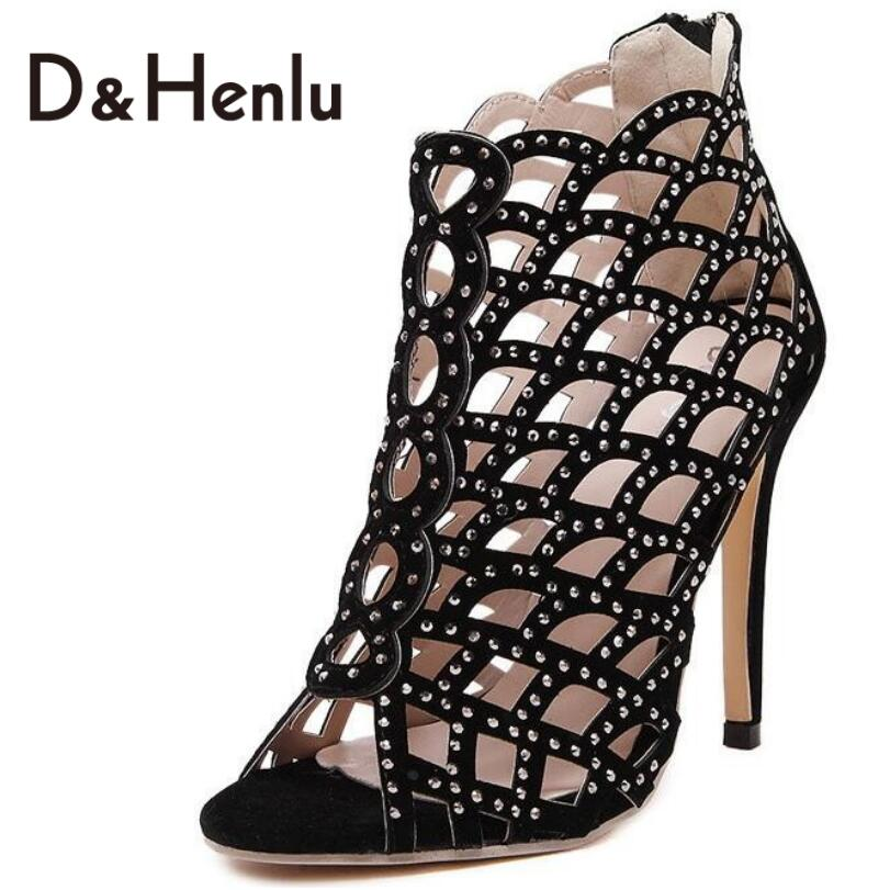 {D&amp;H}Hollow Sandals Boots New Fashion High Heeled Open Toe Heels Sandals Shoes Women Pumps Shoes Sexy Pumps Heels Shoes Woman<br><br>Aliexpress