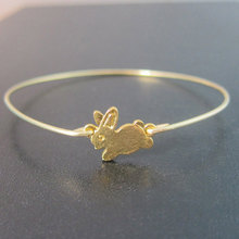 Lovely Gold Rabbit thin brass wire Bangles bracelets Bunny pulsera brazalete vintage jewelry Free Shipping YPQ0118(China)