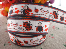 "17030257,New arrival 7/8"" (22mm) 10 yards/lot animals ladybug printed grosgrain ribbons cartoon ribbon DIY handmade materials"
