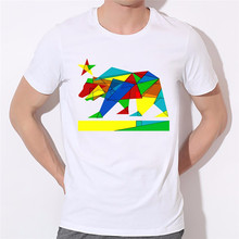 Colorful jigsaw puzzle polar bear character printing T-shirt can be customized according to your favorite pictures(China)
