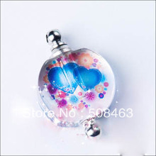 Custom pattern 50pieces/lot blue heart Crystal Vials pendant perfume bottle pendant name on rice art