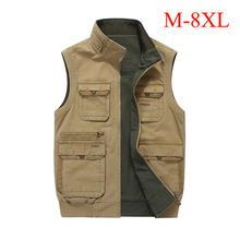 M-8XL big size men vest multi-pockets both side wear waistcoat stand collar cotton cargo military vest men casual colete IN8586(China)