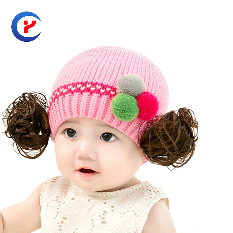 2017 New Fashion girl knitted hat for kids Autumn winter Warm with hairpiece pompons casual jacquard Knitted hat #161107_x98Одежда и ак�е��уары<br><br><br>Aliexpress