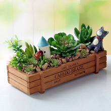 Garden Plant Pot Decorative Vintage Natural Flower Planter Succulent Wooden Case Rectangle Table Flower Pots Gardening Device