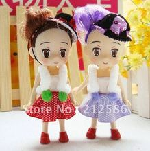 Wholesale 24pcs lovely dress Doll with fashion hat for girl As Wedding Supplier,Phone charm strap,Children gift ,Free Shipping